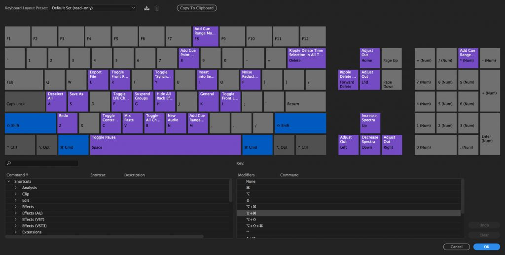 Adobe Audition visual keyboard editor